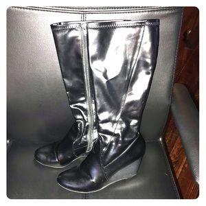❤️ BOGO 50% off Black faux wedge boots w/2.5 heel